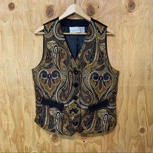 Vintage Paisley Brown Tapestry Beaded Vest